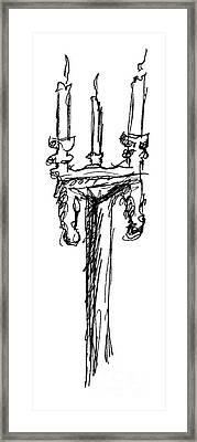 Candelabrum Sketch Framed Print by J M Lister