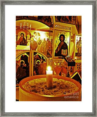 Candle And Icons Framed Print by Sarah Loft