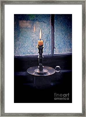 Candle In The Window Framed Print by Jill Battaglia