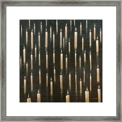 Candles On The Lake Udaipur India Framed Print by Lincoln Seligman