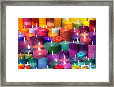 Candles Rainbow Colours Framed Print by Alixandra Mullins
