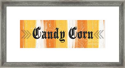Candy Corn Sign Framed Print by Linda Woods