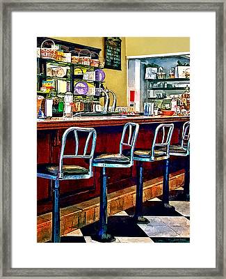 Candy Store With Soda Fountain Framed Print by Susan Savad
