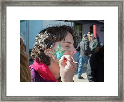 Cannabis Face Painting Framed Print by Jim West