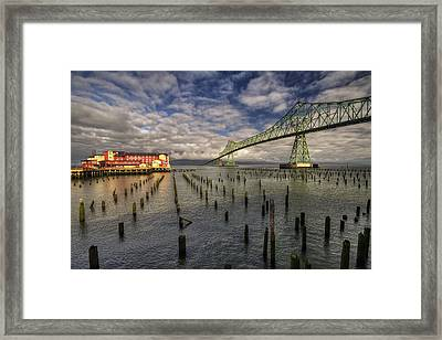 Cannery Pier Hotel And Astoria Bridge Framed Print by Mark Kiver