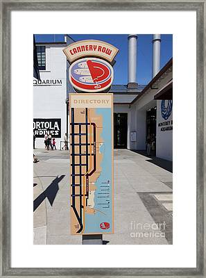 Cannery Row Directory At The Monterey Bay Aquarium California 5d25018 Framed Print by Wingsdomain Art and Photography