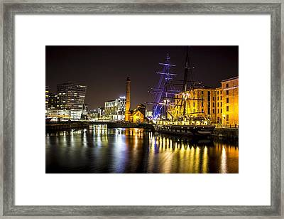 Canning Dock Illuminated Boat Framed Print by Paul Madden