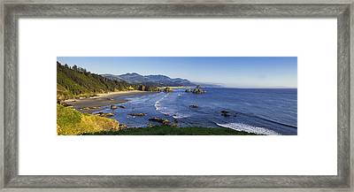 Cannon Beach Panorama Framed Print by Andrew Soundarajan