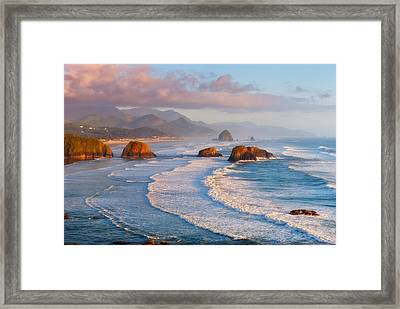 Cannon Beach Sunset Framed Print by Darren  White