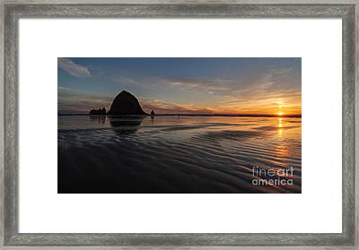Cannon Beach Sunset Sand Waves Framed Print by Mike Reid