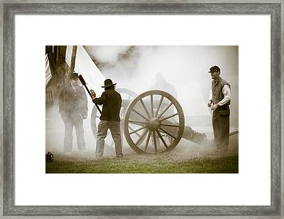 Cannon Fire At Plattsburg Framed Print by Steven Bateson