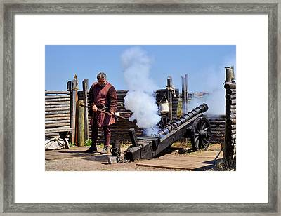 Cannon Firing At Fountain Of Youth Fl Framed Print by Christine Till