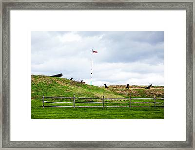 Cannons And The Star Spangled Banner Framed Print by Susan  Schmitz