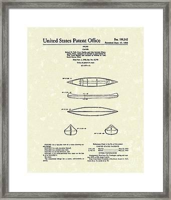 Canoe 1963 Patent Art Framed Print by Prior Art Design