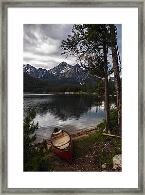Canoe At Stanley Lake Framed Print by Vishwanath Bhat