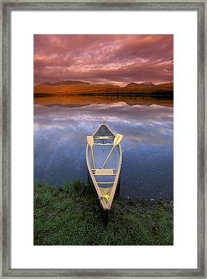 Canoe On Otter Lake Evening Light Framed Print by Michael DeYoung