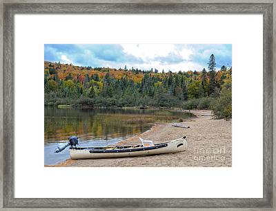 Canoe With An Engine Framed Print by Les Palenik