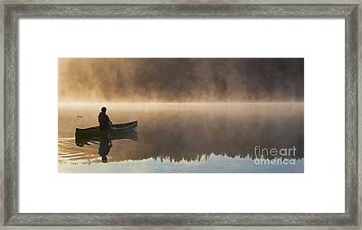 Canoeist On A Golden Misty Morning Framed Print by Barbara McMahon