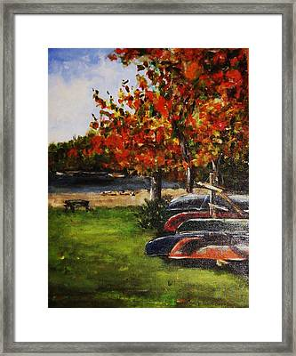 Canoes By The Lake Framed Print by Andrea Flint Lapins