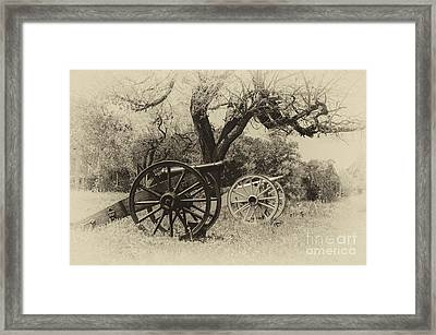 Canons In The Field Framed Print by John Kain
