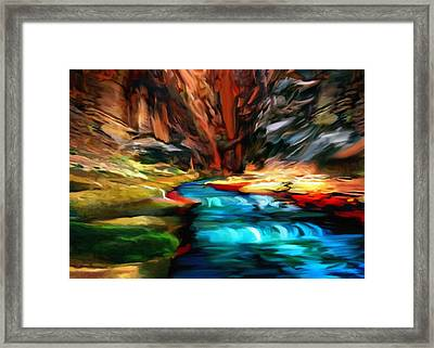 Canyon Waterfall Impressions Framed Print by Bob and Nadine Johnston