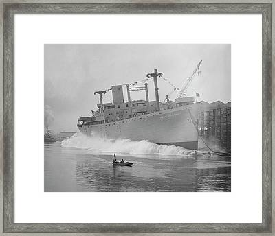Cape Comfort Cargo Ship Launch Framed Print by Hagley Museum And Archive