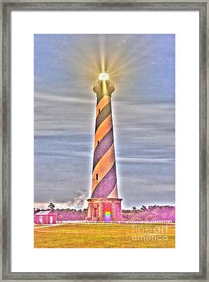 Cape Hatteras Light House With Light Trails And Stars Framed Print by Robert Loe