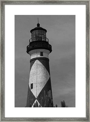 Cape Lookout Light Black And White 2  Framed Print by Cathy Lindsey