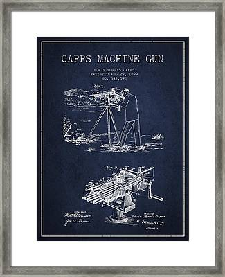 Capps Machine Gun Patent Drawing From 1899 - Navy Blue Framed Print by Aged Pixel