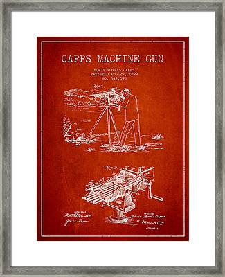 Capps Machine Gun Patent Drawing From 1899 - Red Framed Print by Aged Pixel