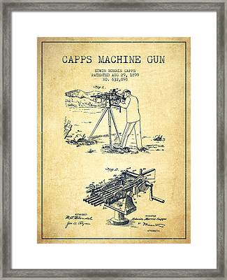 Capps Machine Gun Patent Drawing From 1899 - Vintage Framed Print by Aged Pixel