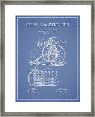 Capps Machine Gun Patent Drawing From 1902 - Light Blue Framed Print by Aged Pixel