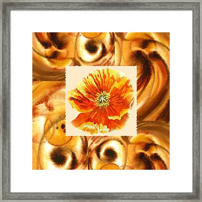 Cappuccino Abstract Collage Poppy Framed Print by Irina Sztukowski
