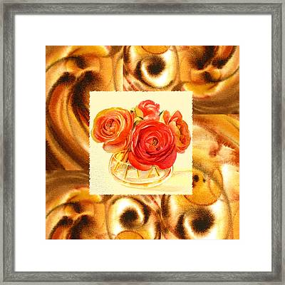 Cappuccino Abstract Collage Ranunculus   Framed Print by Irina Sztukowski