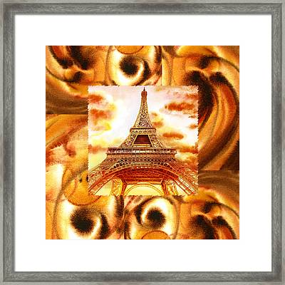 Cappuccino In Paris Abstract Collage Eiffel Tower Framed Print by Irina Sztukowski