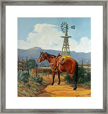 Caprock Windmill Framed Print by Randy Follis