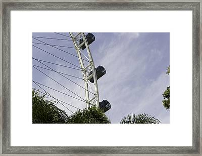 Capsules And Structure Of The Singapore Flyer Along With The Spokes Framed Print by Ashish Agarwal
