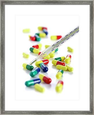 Capsules And Thermometer Framed Print by Science Photo Library