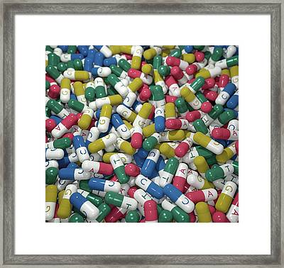 Capsules Labelled With Bases Of Dna Framed Print by Robert Brook