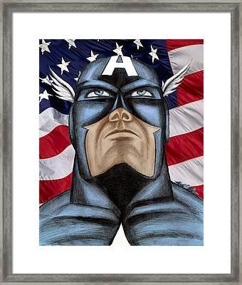 Captain America Framed Print by Michael Mestas