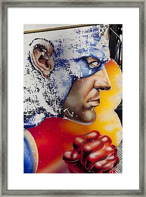 Captain America Framed Print by Mike Greenslade