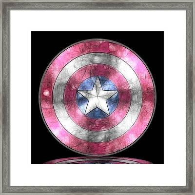 Captain America Shield Digital Painting Framed Print by Georgeta Blanaru