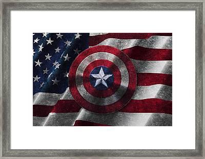 Captain America Shield On Usa Flag Framed Print by Georgeta Blanaru