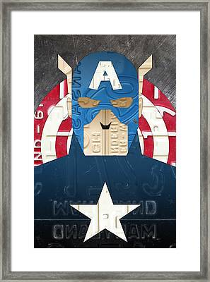 Captain America Superhero Portrait Recycled License Plate Art Framed Print by Design Turnpike