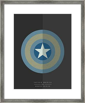 Captain America Winter Soldier Framed Print by Mike Taylor