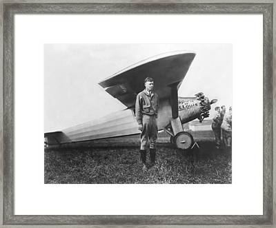 Captain Charles Lindbergh Framed Print by Underwood Archives