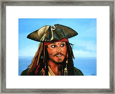 Captain Jack Sparrow Painting Framed Print by Paul Meijering