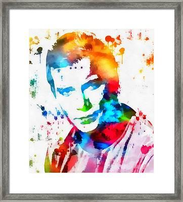 Captain Kirk Watercolor Paint Splatter Framed Print by Dan Sproul