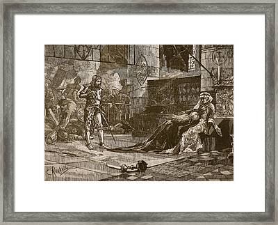 Capture Of Bruces Wife And Daughter Framed Print by Charles Ricketts
