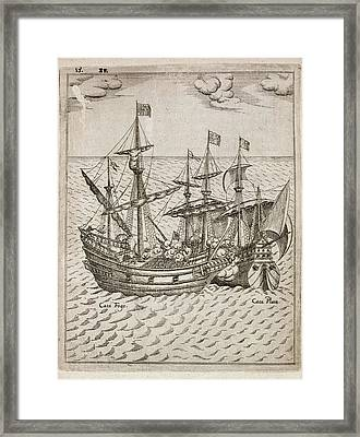 Capture Of The The Spanish Galleon Framed Print by British Library